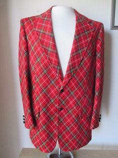 UGLY CHRISTMAS XMAS 60s 70s Taylord Lord & Taylor red plaid wool BLAZER 42 Long  #Taylord
