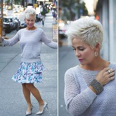 Swishing my skirt from the other day, in a more sophisticated dressed up way! I just made a rhyme, did you notice? I'm going to be wearing my clothes over and over while I'm here in New York. The ot Curly Pixie Haircuts, Short Sassy Haircuts, Pixie Hairstyles, Short Grey Hair, Short Hair Cuts, Cheveux Courts Funky, Chic Over 50, Haircut For Older Women, Sophisticated Dress