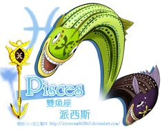 "Pisces, ""The Paired Fish"" (ピスケス Pisukesu), are Celestial Spirits that are one of the 12 Golden Zodiac Keys. Their key is currently owned by Yukino Aguria."