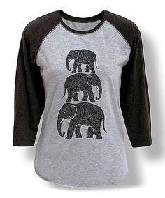 Elephant Stacked Henna Pattern Boho Style Trendy Fashion Ladies Baseball Tee | eBay