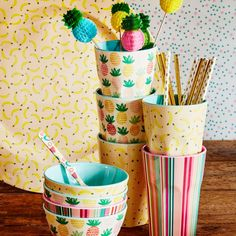 Tall Melamine Cup With either Pineapple, Banana or Stripes By Rice DK Summer 2017 collection - Vibrant Home
