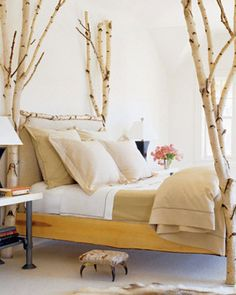 #fourposter #bed #rustic #warm #birch #wood #branches #yellow #color