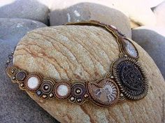 """Колье """"Аркаим"""" - коричневый,колье,колье с камнями,колье из бисера,натуральные камни"""