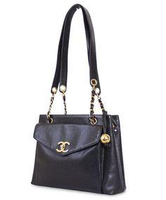 Chanel Black Caviar Shoulder Bag Vintage