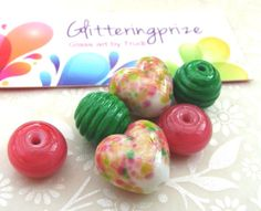 Lampwork Glass Beads Honeyed Peach Blossom by GlitteringprizeGlass, £12.00