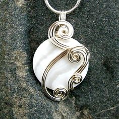 Opalescent White Mop Shell Silver Wire Wrapped Pendant by CareMoreCreations.com, $34.00
