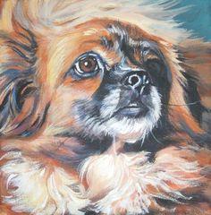 Tibetan Spaniel art print CANVAS print of LA Shepard painting 12x12 dog art