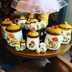 Merry Mushrooms galore! This set is gonna go fast so you might wanna beat cheeks to get here first! #rebelsalonandvintage #rebeltastic #rebelfab #getdownhere #melrose #vintage #retro #collectibles #merrymushrooms #magicmushrooms #vintagekitchen #70s