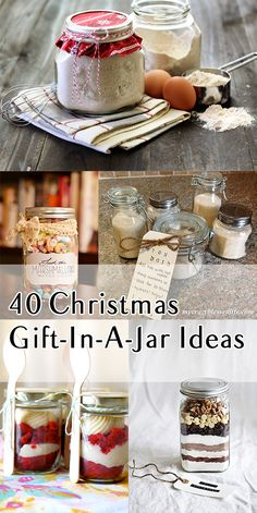 40 Christmas Gift-In-A-Jar Ideas - Some great gift ideas! Let your imagination go wild. Nothing you can't put in a jar! Christmas Food Gifts, Christmas Mason Jars, Homemade Christmas Gifts, Xmas Gifts, Christmas Christmas, Christmas Crafts, Handmade Christmas, Inexpensive Christmas Gifts, Christmas Recipes