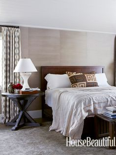 Grays, taupes, and crisp whites in a master bedroom. Design: Parrish Chilcoat and Joe Lucas.