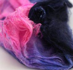 Frabjous Fibers Hand Dyed Silk Hankies