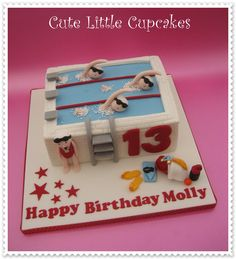 Swimming pool themed 13th Birthday cake x