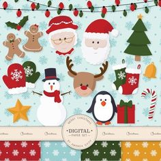 This is a set of 29 professionally made, high quality, hand drawn Christmas images, plus 5 coordinating digital papers. Clip art images include Santa Clause, Mrs Clause, Gingerbread Man, Gingerbread Girl, Rudolf, Snowman, Penguin, 6 mittens, 3 stockings, Christmas tree, Star, Bell, Candy Cane, Holly, 2 gifts and 6 Christmas Light Strands.
