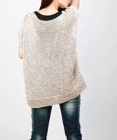 Items similar to Hand knitted Little cotton poncho knit Fringe scarf knit shrug in Mocha on Etsy Knit Shrug, Crochet Tunic, Knit Vest, Knitted Poncho, Tunic Sweater, Crochet Clothes, Grey Sweater, Pull Gris, Vest Pattern
