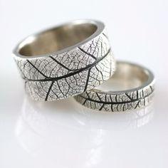 Leaf Texture Silver Ring - 18 Unique Wedding Bands for Men