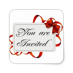 Invitation card >> You Are Invited Square Sticker - business template gifts unique customize diy personalize
