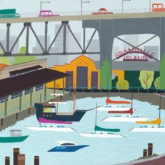 Granville Island - Vancouver Landmark art print, home decor  Vancouver landmark art print with a unique Mid-Century / Folk Art take. A perfect Vancouver gift idea for any city lover or that poor soul that is leaving town. Purchase on www.snowalligator.com  Illustration by artist Jason Blower  #yvr #yvrart #yvrwallart #wallart #Vancouverart #Vancouvergift #yvrgift #snow_alligator #charmingart #cuteart #midCentury #Folkart #cuteart #charmingart #yvrlove