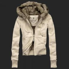 Hollister Outlet online sale Abercrombie Womens Fur Hoody Coat 059