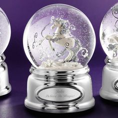 """<strong><font color=""""#8e0c3a"""">♫ Plays """"Beautiful                          Dreamer""""</font></strong><br/>                                                   Like the mysterious mythological creatures, known for their legendary beauty and their mystical powers, our Unicorn Snow Globe is also renowned for its          beautiful craftsmanship. And it's musical too. Make this lovely gift even more  magical when you engrave a special message.<br><br>-A great gift for birthdays, commemorate a s..."""