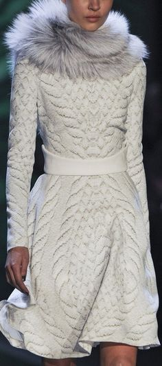 Monique Lhuillier at New York Fashion Week Fall 2013 RTW #White #Fashion #Fur