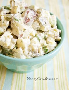 Creamy Dill Potato Salad with dill pickles and pickle juice...sounds like it will have that brightness from the dill and the tang from the vinegar!