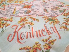 Souvenir Hankie Kentucky Souvenir Handkerchief by VintageCarolina, $8.00