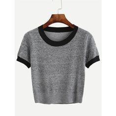 Contraste gris del ajuste de punto camiseta