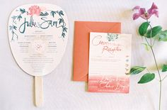 wedding-ceremony-program-favor-fan-invitation-pink-green