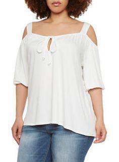 Plus Size Off The Shoulder Top - 9428072245453