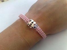 Pink evil eye bracelet,kids,macrame,tinas creations,16cm/6,3inch,s plated,alloy #TinasCreations #macrameadjustablebracelet