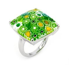 Millefiori Faceted Green Square Ring Millefiori. $63.80 Jewelry Rings, Jewellery, Square Rings, Green, Glass Jewelry, Rock, Jewels, Jewelry Shop, Jewerly