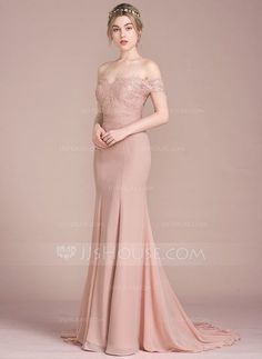 Trumpet/Mermaid Off-the-Shoulder Court Train Beading Sequins Zipper Up Regular Straps Sleeveless No Dusty Rose Spring Summer Fall Winter General Plus Chiffon Lace Bridesmaid Dress