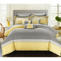 Luxury Bedding Color Block Collection. Enjoy a simple color block look which accents 3 colors to bring this ensemble to life. This set provides a sophisticated banding technique which has bands sewn t