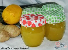 Zucchini jam with lemon & ginger Slovak Recipes, Russian Recipes, My Recipes, Finger Food Appetizers, Finger Foods, Appetizer Recipes, Chutney, Zucchini Jam, Homemade Jelly