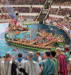 Roman Naval Battles inside the Colliseum.  Thousands of spectators watch the scence. naumaquia