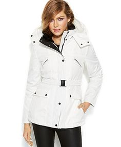 Jessica Simpson Hooded Faux-Fur-Collar Belted Puffer