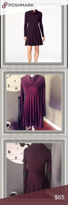 """NWT Calvin Klein Cowl-Neck Sweater Dress An elegant cowl neck, windowpane knit skirt, and pretty fit-and-flare silhouette sweeten this sweater dress!                                              Chest/Bust: 17"""" Shoulder: 17"""" Length: 37"""" Calvin Klein Dresses Long Sleeve"""