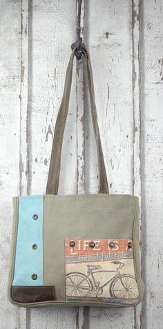 Süße Sunsa Shopper Handtasche mit tollem Fahrrad Motiv in blau.  Jetzt auf Amazon kaufen.