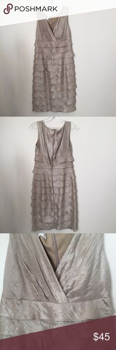 Ruffled Formal Shiny Tan Midi Dress Worn once at a wedding, like new. Approximate measures are: 37.5 inches length, 14 inches waist 18 inches hips. Brand is London Times.Price lower on Merc. London Times Dresses Midi