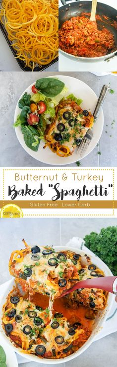 """Butternut and Turkey Baked """"Spaghetti"""" / This warming and healthy fall meal…"""