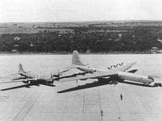 The U.S. Air Force Convair XB-36 parked beside a Boeing B-29-55-BA (S/N 44-84027) for size comparison at Carswell Air Force Base, Ft. Worth, Texas (USA).