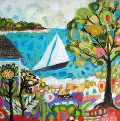 Beach original painting coastal nautical by karenfieldsgallery, $325.00