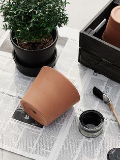 Krukan INGEFÄRA med tillhörande fat har snabbt blivit en favorit. Snygg och lättplacerad med sitt enkla, strama formspråk. Här har vi förstärkt det stilrena uttrycket genom att måla den med en mattsvart krukfärg.