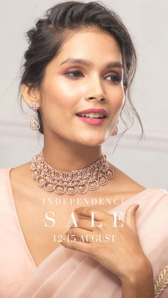 Shopped the biggest Independence day jewelry sale yet? 15% OFF on all jewelry, no code required. Visit Tarinika.com today. Indian Jewellery Online, Indian Jewelry Sets, India Jewelry, Small Necklace, Necklace Set, Modern Jewelry, Luxury Jewelry, Diamond Jewellery, Diamond Earrings