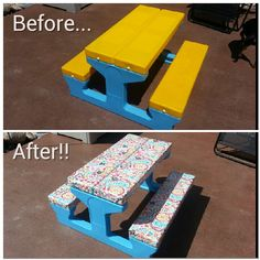 Laminated fabric and spray adhesive, SO easy! Kids Picnic Table, Laminated Fabric, Tree Houses, Duct Tape, Furniture Makeover, Cute Kids, Kid Stuff, Adhesive, Outdoors