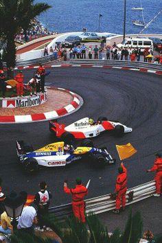 Ayrton Senna, McLaren-Honda, #1, (finished 1st), Nigel Mansell, Williams-Renault, #5, (finished 2nd), Monaco Grand Prix, 1992.