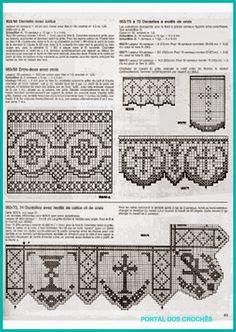 Crochet Lace Edging, Crochet Borders, Crochet Cross, Thread Crochet, Irish Crochet, Crochet Patterns, Fillet Crochet, Altar Cloth, Crochet Curtains