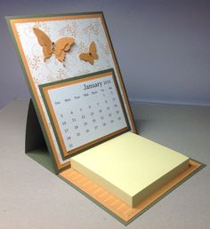 Butterfly Easel Calendar with Post It Note Pad, Jenni's Crafty Creations by Jenni Weighall