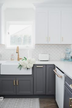 My White & Gold Kitchen with Cafe Appliances Check out my white and gold cozy coastal kitchen and my Farmhouse Kitchen Cabinets, Kitchen Cabinet Colors, Kitchen Redo, Home Decor Kitchen, Home Kitchens, Dark Grey Kitchen Cabinets, Coloured Kitchen Cabinets, Smeg Kitchen, Painting Kitchen Cabinets White