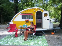 One of our daughters and our T@B teardrop camper